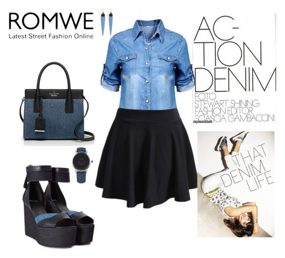 """Life in Denim"" by agnesmakoni ❤ liked on Polyvore featuring Pierre Hardy, Kate Spade and Alexis Bittar"