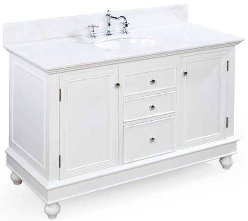Bella 48 inch bathroom vanity white white this classic for 21 inch deep kitchen cabinets