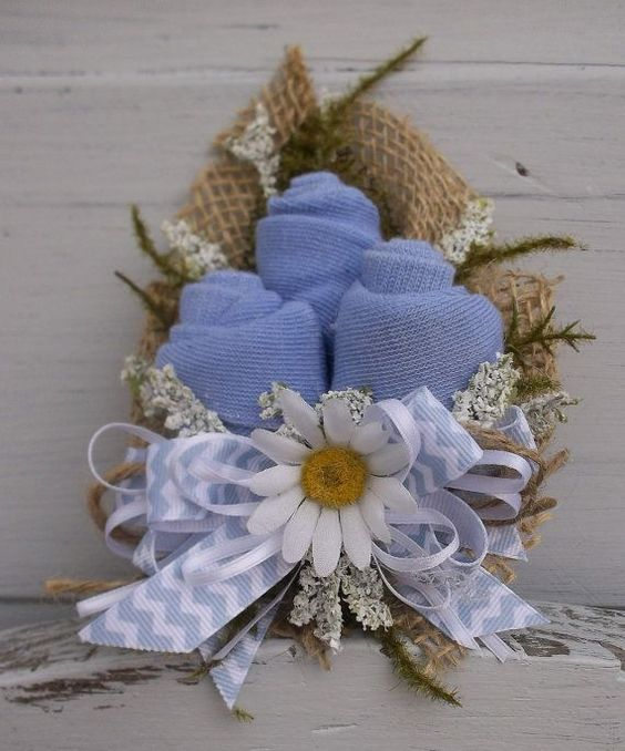 burlap and blue baby shower | ... Baby Shower Corsage with Blue and White Chevron Ribbon and Burlap by