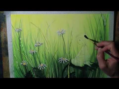 Ganz Einfach Aquarellmalen Lernen Aquarellschule Margeritenwiese Youtube Blumen Kunst Margeriten Aquarell