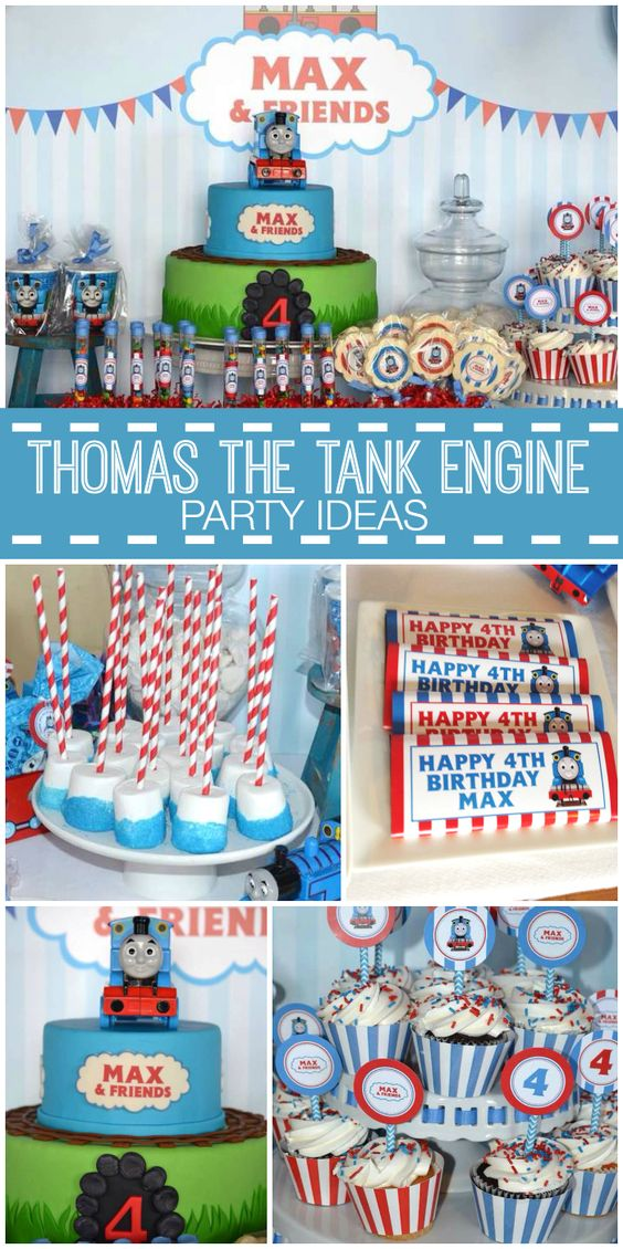 A Thomas the Tank Engine boy birthday party with chocolate truffles, marshmallow pops and cupcakes!  See party planning ideas at CatchMyParty.com!