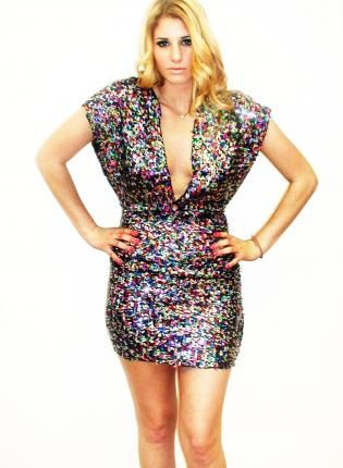 Plus Size Red Blu Technicolor Sequin Deep V Party Dress sequin ...