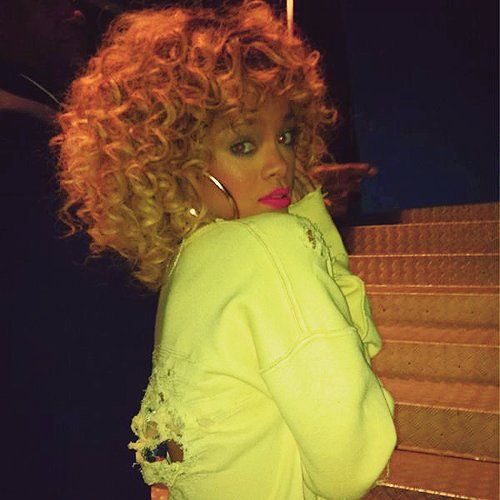 Rihanna Pink lips and Curly hair on Pinterest - Big Curly Weave Hairstyles