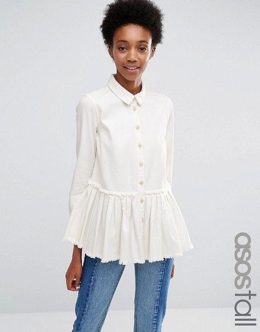 ASOS Tall | ASOS TALL - Chemise plissée en jean coupe taille basse avec ourlet…