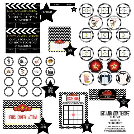 Black Chevron Oscars Party | Free Printables www.weheartparties.com