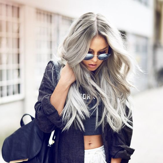 This hairstyle in whites grey and platinum is my ultimate inspiration right now: