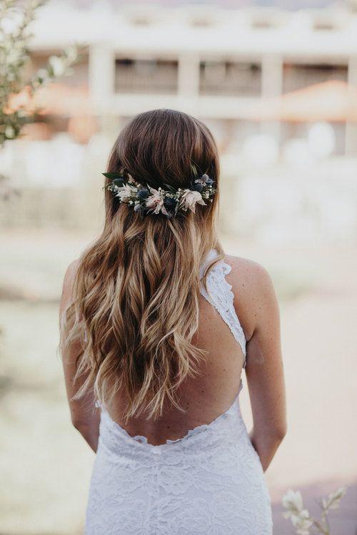 Sedona Wedding Half Flower Crown Bridal Hair Inspiration Floral Hair Piece Wedding Beautiful Wedding Hair Flower Crown Hairstyle