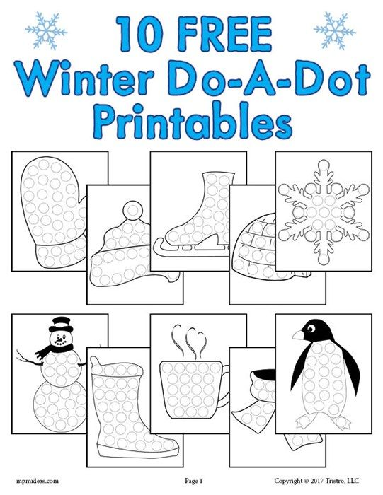 9 Winter Do-A-Dot Printables!  Do a dot, Winter crafts preschool