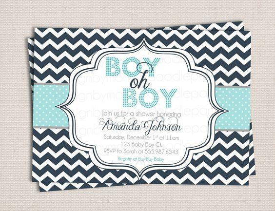 boy oh boy chic chevron baby shower custom printable shower, Baby shower invitations