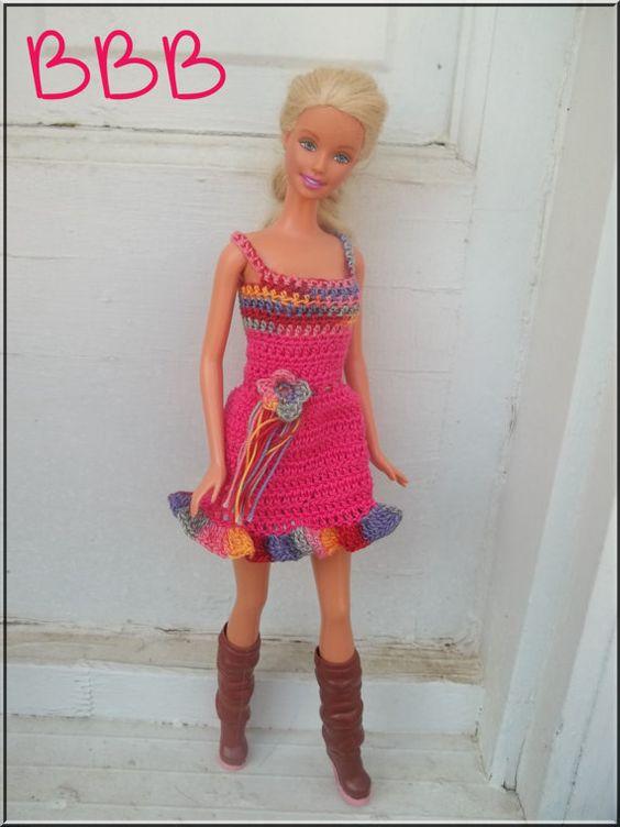 Crochet Barbie Clothes Hot Pink Spaghetti by BarbieBoutiqueBasics
