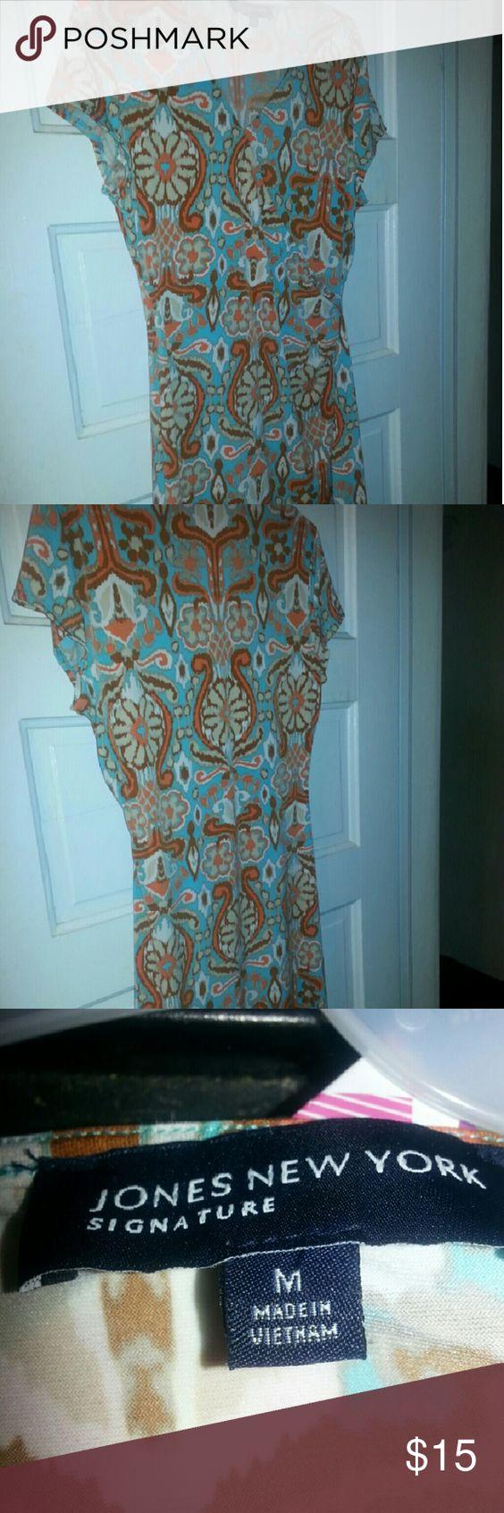 Adorable brown and teal dress Cute fall dress Jones New York Dresses Midi