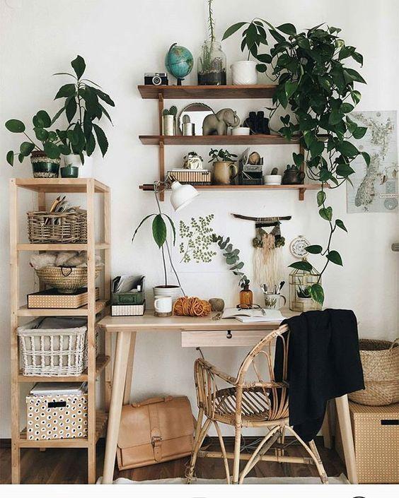 Workspace avec des plantes et un bureau en bois