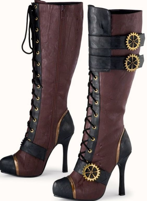 Ladies Knee High Steampunk Boots Looks like it has a platform too!