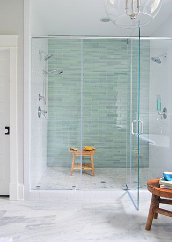 """Young House Love   aqua tile: 3 x 12″ New Haven tile from The Tile Shop """" The floor tile in the shower pan is the Tile Shop's Evanston series in Frost Snow, which featured some small aqua glass accents between the marble squares which help tie the big accent wall together with the marble floor (that's 12 x 24″ Tempesta Neve marble"""