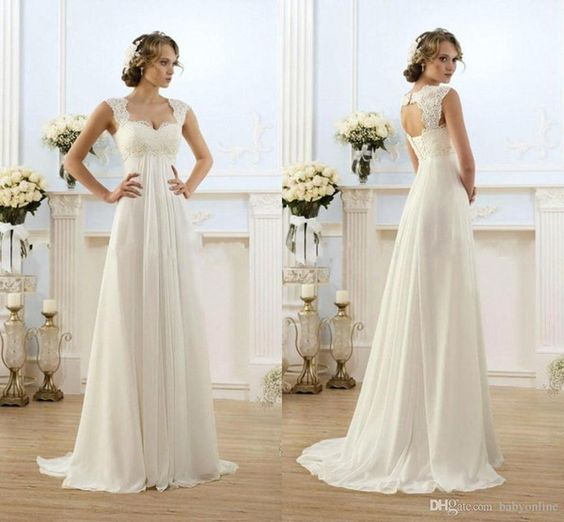 2015 Elegant Lace A Line Wedding Dresses Cheap Chiffon Formal ...
