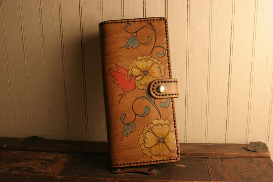 Passport Portfolio - Margot Pattern with Hummingbird - Leather in pink, yellow, turquoise and antique brown. $126.00, via Etsy.