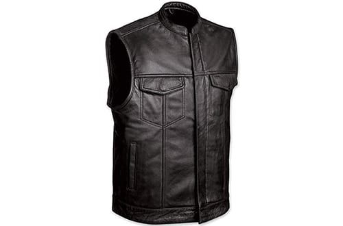 1 Men S Motorcycle Sons Of Anarchy Black Club Style Leather Vest Motorcycle Vest Motorcycle Leather Vest Leather