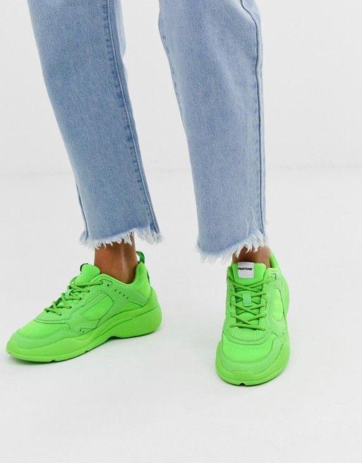 Bershka x PANTONE trainer in neon green | ASOS