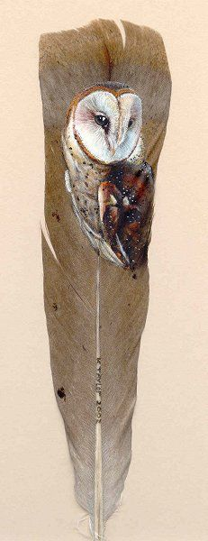 Handpainted feather featuring a barn owl by Karin Taylor Art!  Very Lovely!