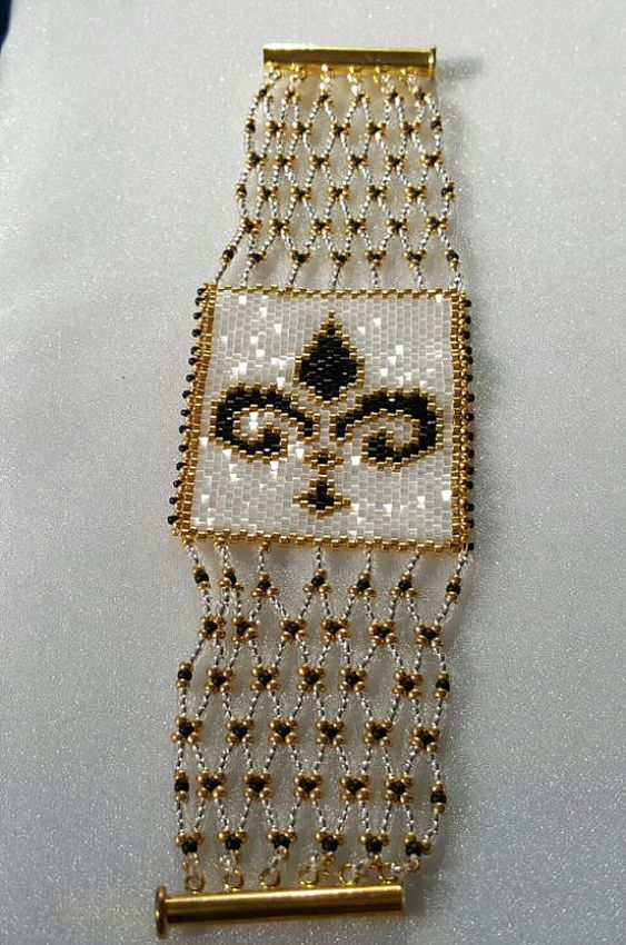 Fleur De Lis - FOUR Patterns! Odd Count Peyote Bracelet, Block and Slide, and Brick Stitch Charm: