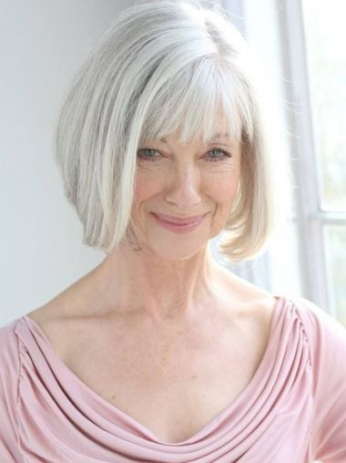 SKU:hfnb129; Material:Remy Human Hair; Cap Construction:Capless; Cap Construction:Capless; Length:Chin Length; Hair Style:Straight; #wigsis #greywigs #cheapgreywigsforolderwomen