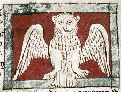 Bodleian Library, MS. Douce 88, Folio 21v  A long-beaked owl spreads its wings.: