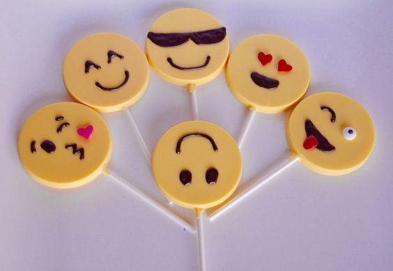 12 Chocolate Emoji Lollipops Chocolate Emoji Party Favors Chocolate Emojis Emoji Party Favors Chocolate Lollipops Emoji Lollipop