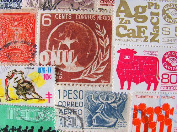 Mucho Gusto 50 Vintage Postage Stamps Latin Love Worldwide Mexican Philately Mexico Estados Unidos Mexicanos Central America