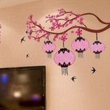 Large Lantern Pink Flowers  Removable vinyl wall art