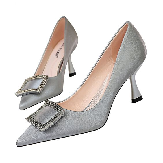 Details about Lady Satin Mid Kitten Heel Women Wedding Party Club Office Shoes Plus Size 3 11