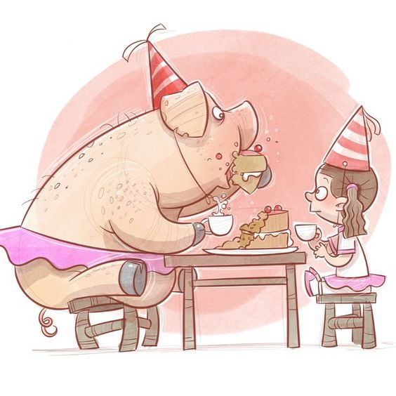 Party pig #illustration #characterdesign #pig #party #cartoon #sketch #drawing #instaart #instadaily #art #cake