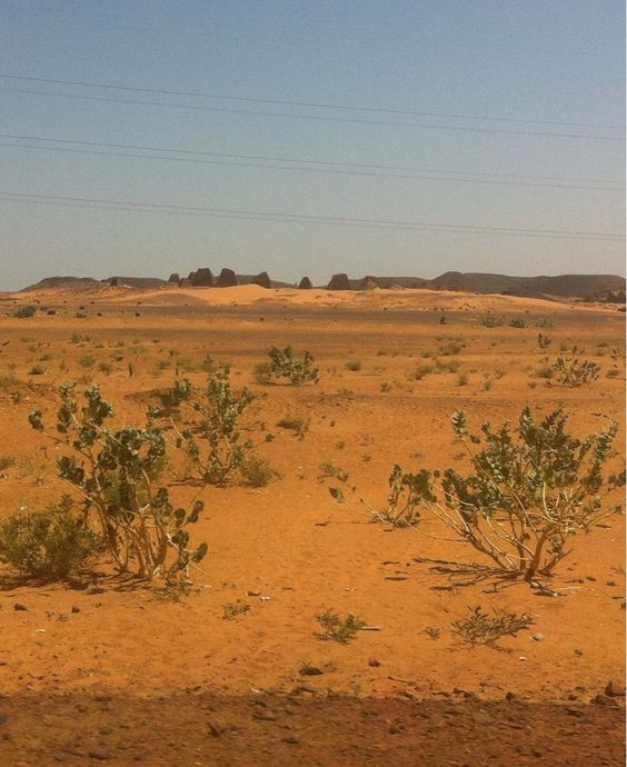 On the road north of Khartoum,  the royal burial pyramids at Meroe