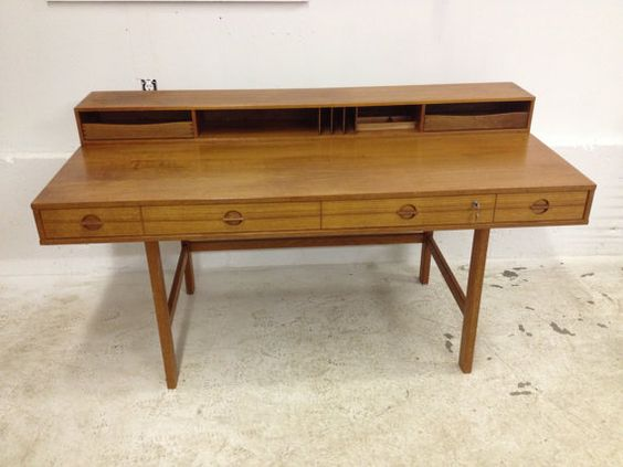 Danish Modern Teak Flip-Top Lovig Desk Jens Quistgaard Dansk Designs Denmark. $1,750.00, via Etsy.