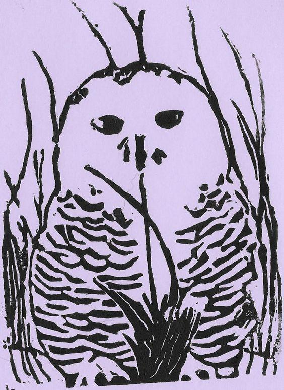 Snowy Owl Block Print PINK 8 1/4 h x 5 3/4 w by OwlNestStudios