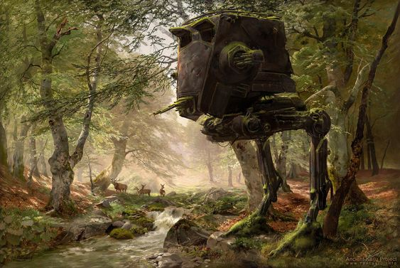 Abandoned AT-ST in the Forest Created by Oliver Wetter    Tumblr