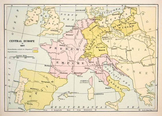 1891 Print Antique 1811 Map Central Europe England Germany Italy – England on Map of Europe