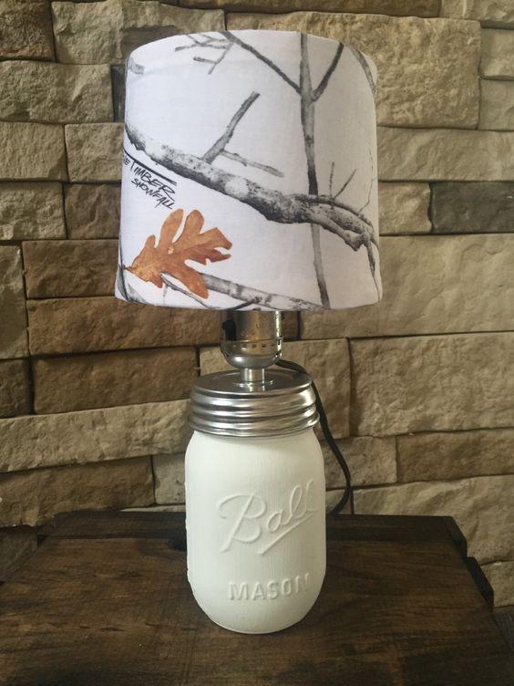White camo mason jar lamp by Madewithluvnstuff on Etsy https://www.etsy.com/listing/272299024/white-camo-mason-jar-lamp