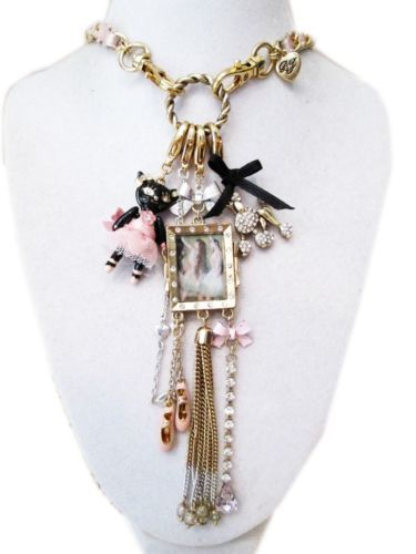 Betsey-Johnson-School-of-Dance-Ballet-Cat-Necklace-Long-Chain-B02709-USA