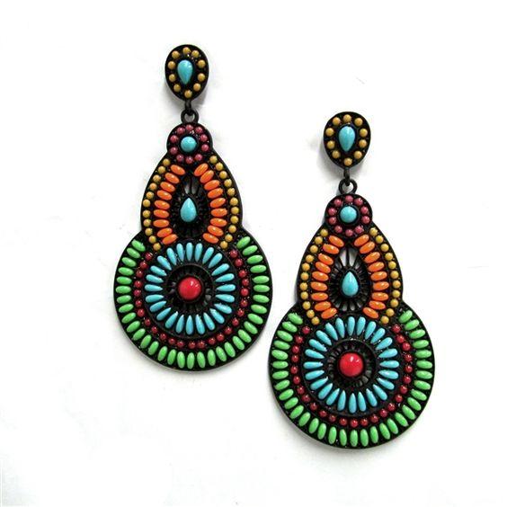 Gypsy Soule Neon Beaded Teardrop Chandelier Earrings DE554