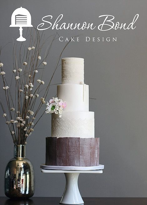 Country Chic Wedding Cake by Shannon Bond Cake Design www.sbcakedesign.com Lace, rustic wood charm, pearls and sugar flowers perfect for a beautiful country wedding.
