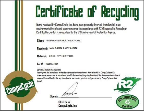 We got our official Certificate of Recycling from CompuCycle! Read how many pounds of e-waste we were able to collect!