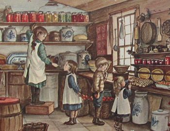 This is an illustration drawn by Tasha Tudor of children canning in the kitchen during harvesting season.    I am very sad to say that for those of you who love Tasha Tudor, she has died just recently at age 92.