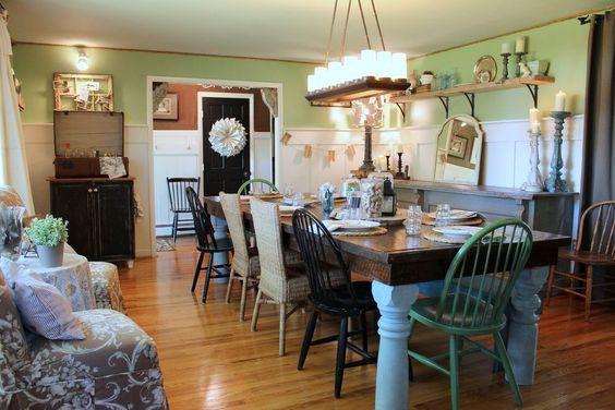 Farmhouse lighting ideas dining room shabby chic style for Light blue dining room ideas