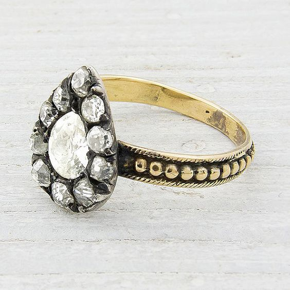 Antique Victorian Pear Shaped Rose Cut Foil Backed Diamond Engagement Ring $