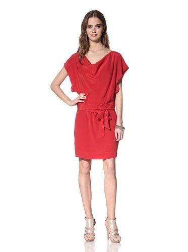 57% OFF Akiko Women\'s Draped Dolman Dress (Scarlet)