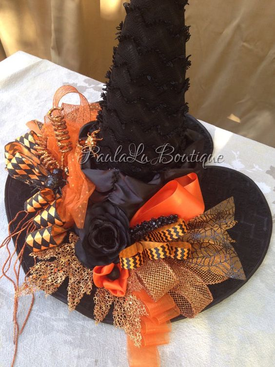 Orange Witch Hat Halloween Costume Witches Hats by PaulaLuBoutique
