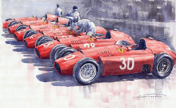 Team Lancia Ferrari D50 Type C 1956 Italian GP watercolor on paper by Yuriy Shevchuk