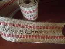 "Primitive Jute Burlap Webbing Garland Ribbon Merry Christmas Red Striped 3-1/2"""