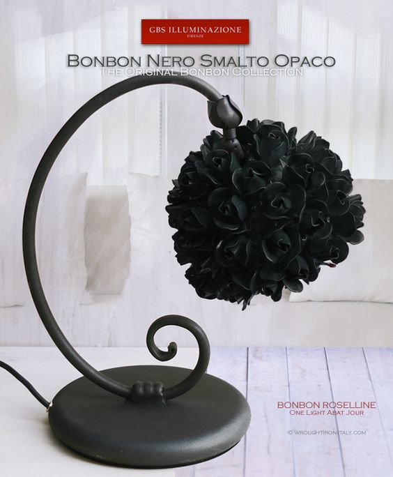 Bonbon Roselline Matt Black Table Lamp - Bedside.  Bonbon Roselline in matt black enamel. Hand-decorated wrought iron table lamp with a single adjustable light and swivel arm.  Handmade and hand-painted wrought iron small roses. For bedside tables, ideal for bedrooms, children's rooms and for reading. Collezione Bonbon by GBS. MADE IN ITALY. Design: Gianni Cresci. All Rights Reserved