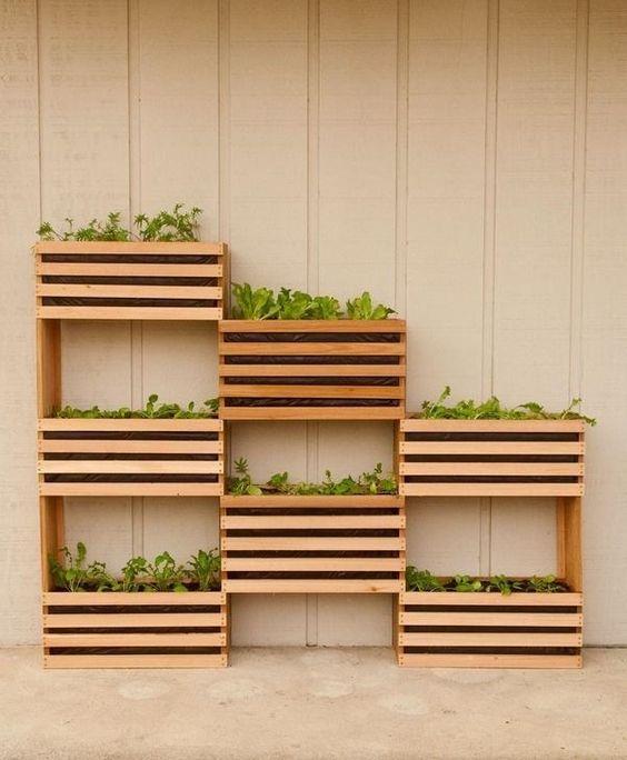 Todo mundo já tá cansado de caixotes de madeira né? Mas que tal usá-los como uma horta vertical?: